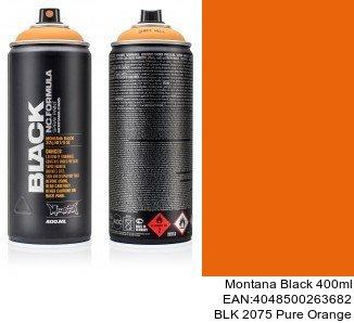 montana black 400ml  BLK 2075 Pure Orange colores para metal