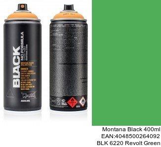 montana black 400ml  BLK 6220 Revolt Green pintura sprays para coches
