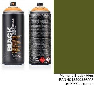 montana black 400ml  BLK 6725 Troops black spray aerosol montana cans