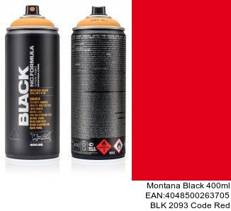 montana black 400ml  BLK 2093 Code Red pintura para metal spray