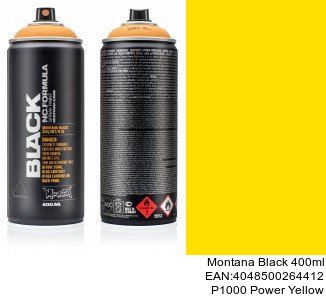 montana black 400ml  P1000 Power Yellow montana cans barniz black spray